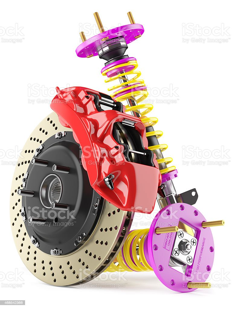 Automobile braking system and shock absorbers stock photo