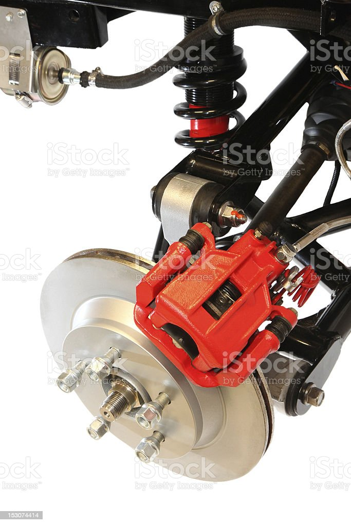 Automobile Disc Brake, Wheel and Shock Assembly royalty-free stock photo