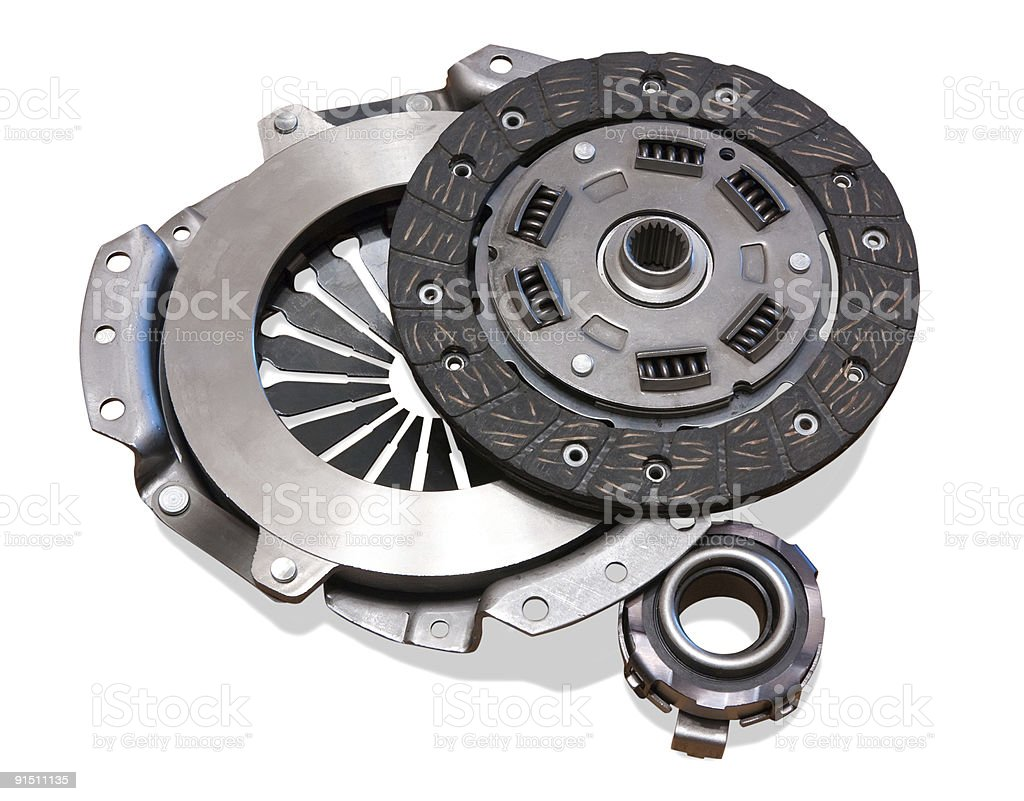 automobile engine clutch. Isolated on white with clipping path stock photo