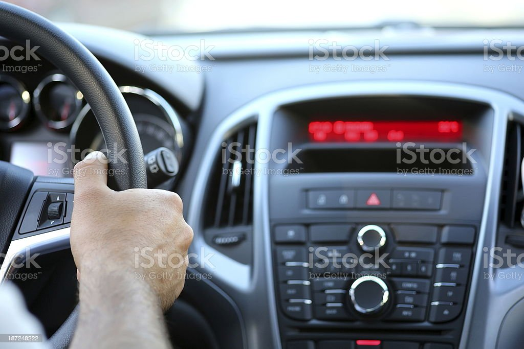 Automobile interior dashboard stock photo