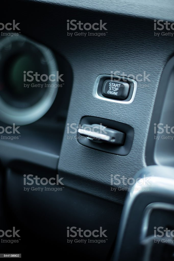 Automobile key in the ignition stock photo