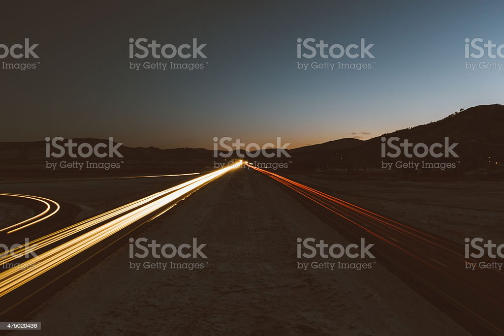 Automobile light trails in Washoe Valley stock photo