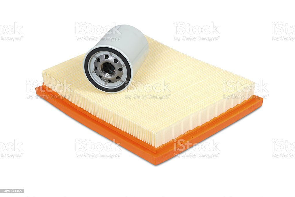 Automobile oil and air filters stock photo