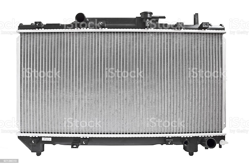 Automobile radiator detached from engine stock photo