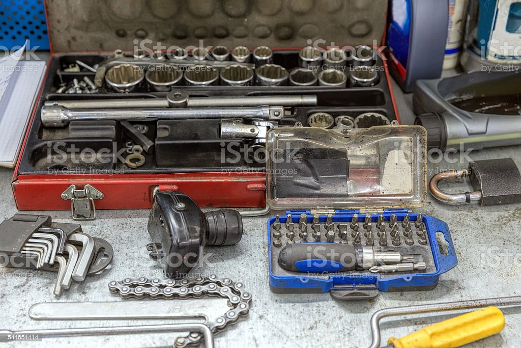 Automobile repair and maintenance tools set stock photo