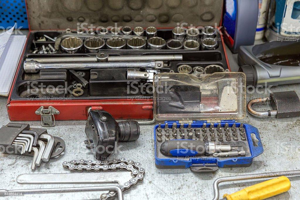 Automobile repair and maintenance tools set stock photo