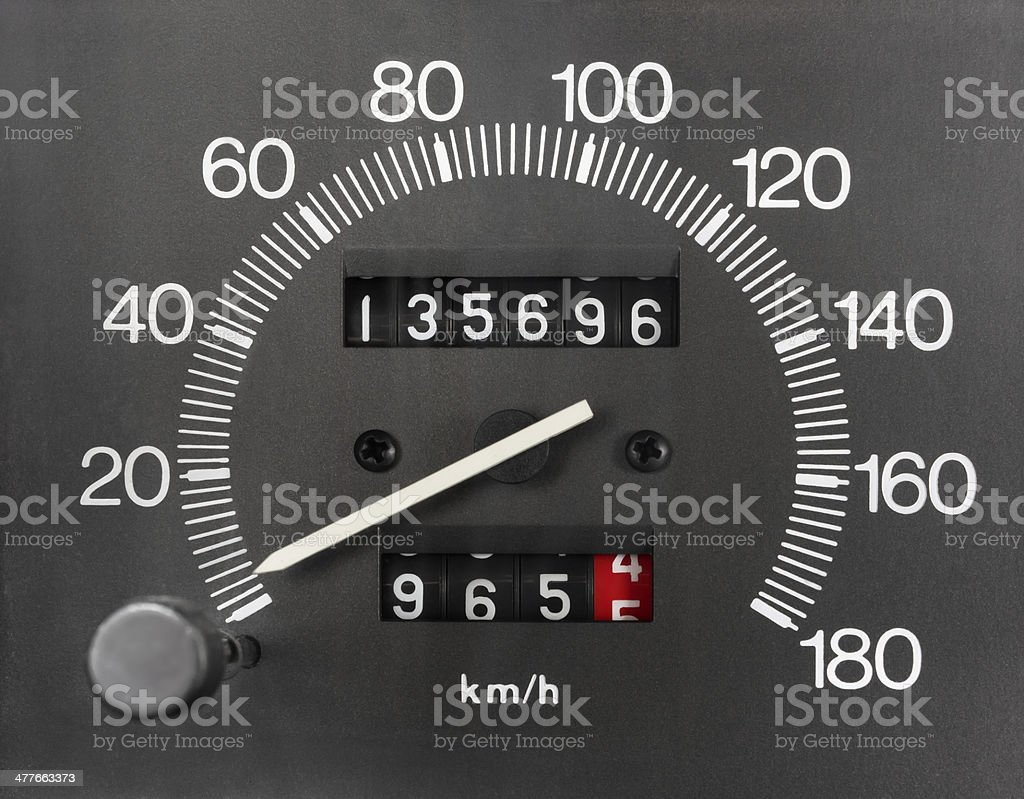 Automobile Speedometer and Odometer stock photo
