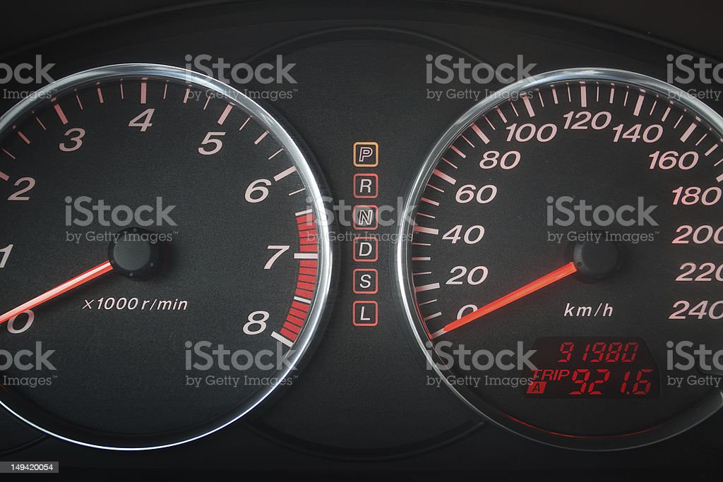 Automobile speedometer and tachometer royalty-free stock photo