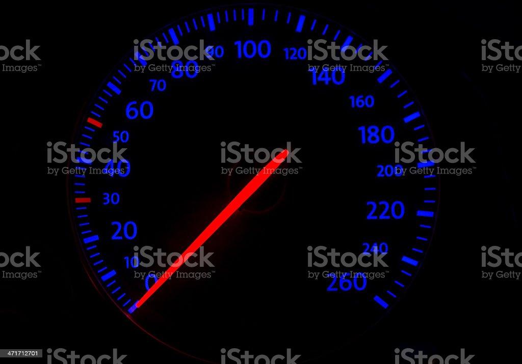 automobile tachometer on blue royalty-free stock photo
