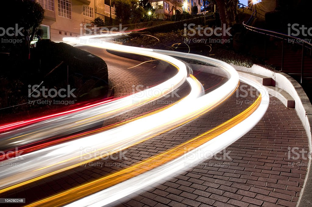 Automobile Trails on Lombard Street, San Francisco royalty-free stock photo