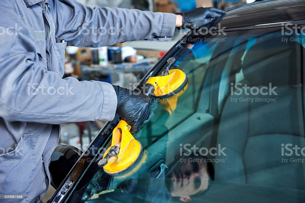 automobile windshield or windscreen replacement stock photo
