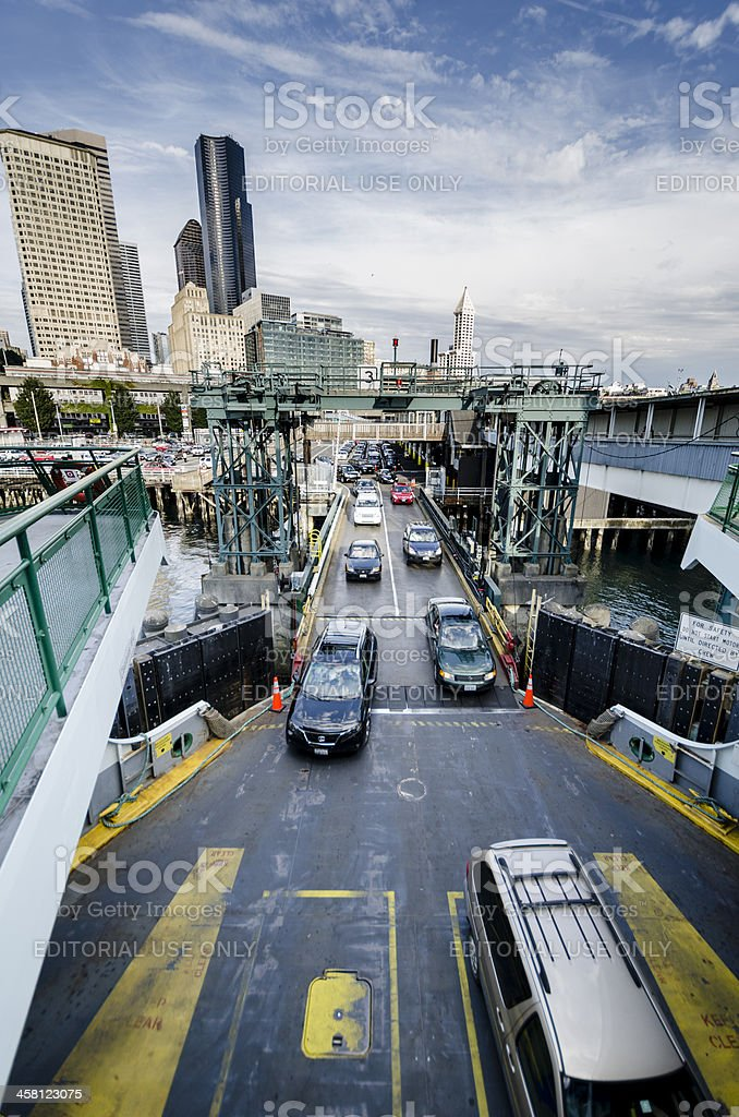 Automobiles boarding the Washington State Ferry near Seattle royalty-free stock photo