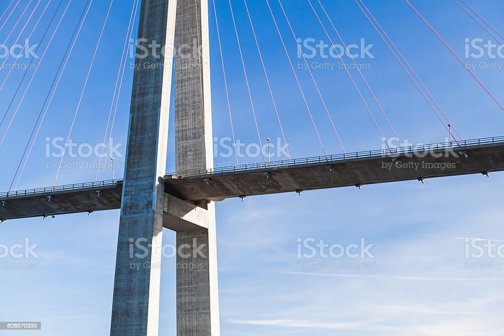 Automotive cable-stayed bridge in Norway stock photo