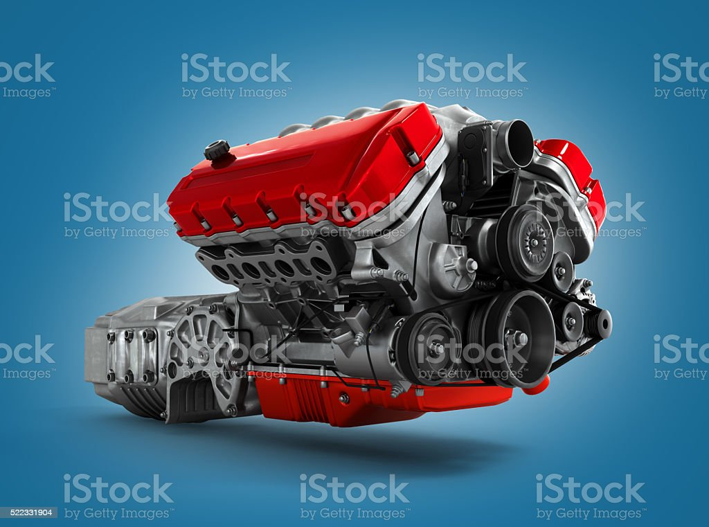 automotive engine gearbox assembly is isolated on a white backgr stock photo