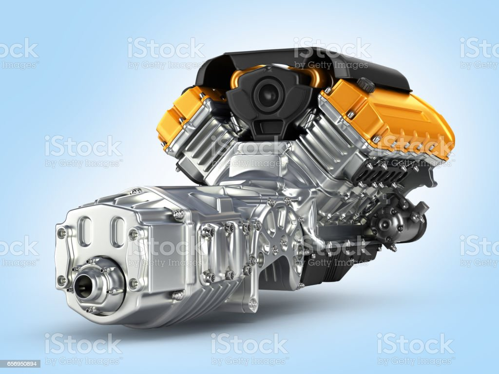 Automotive engine gearbox assembly on blue gradient background 3D stock photo