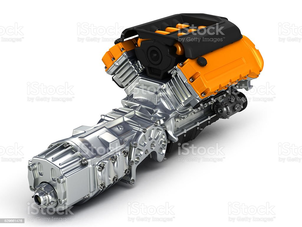 Automotive engine gearbox assembly.3D illustration. stock photo