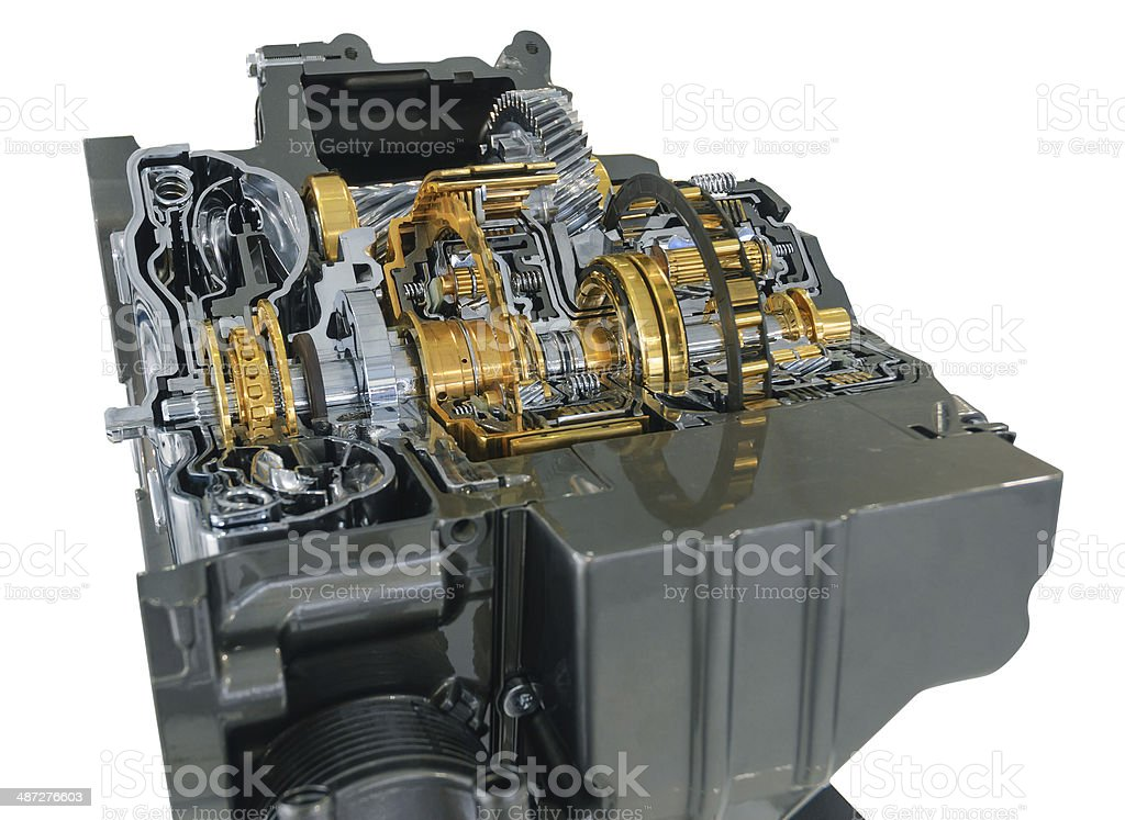 Automotive engine internal structure with path royalty-free stock photo