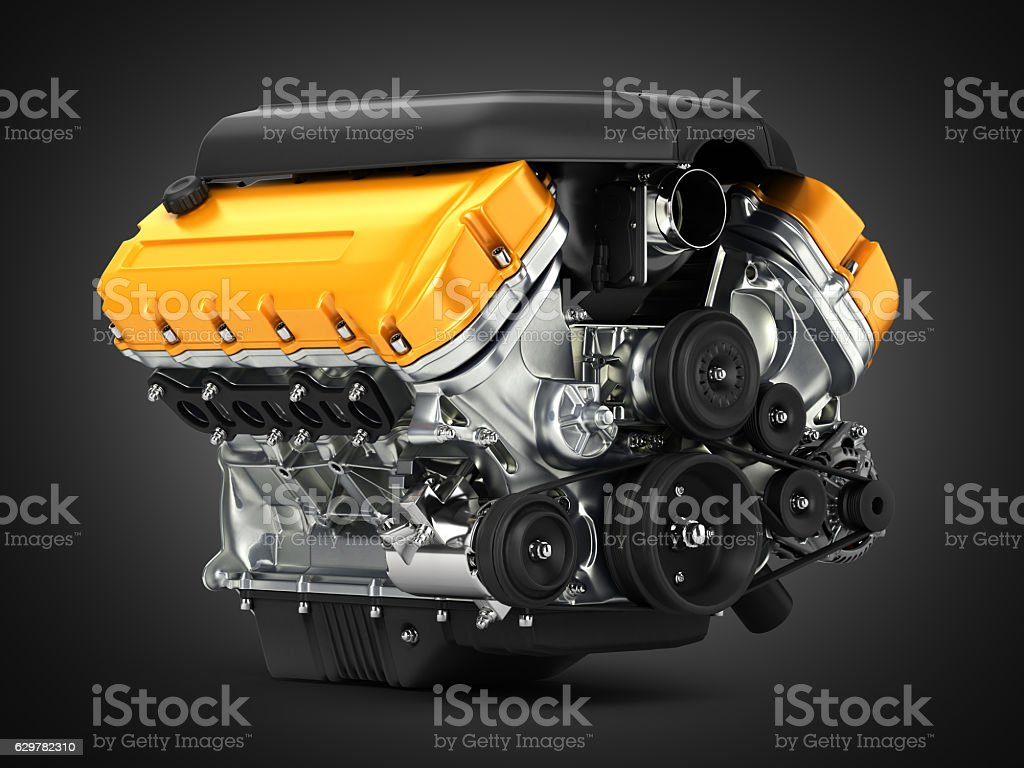 Automotive engine perspective view on black gradient background stock photo