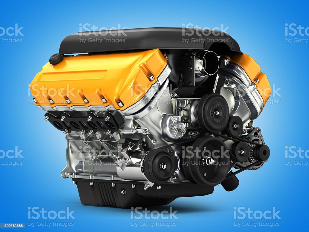 Automotive engine perspective view on blue gradient background 3d stock photo