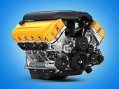 Automotive engine perspective view on blue gradient background 3d