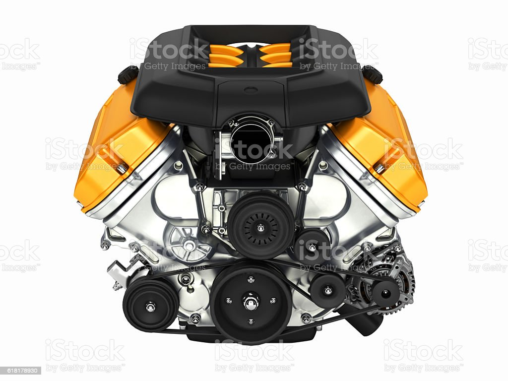 Automotive engine without shadow isolated on white background 3D stock photo