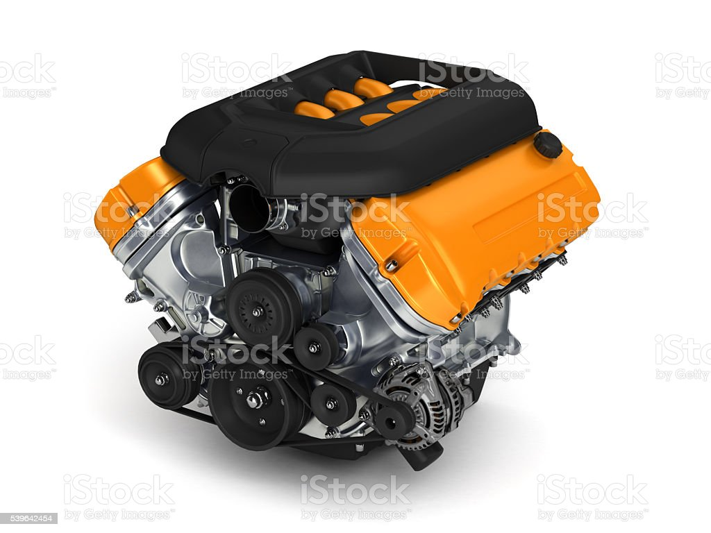 Automotive engine.3D illustration. stock photo