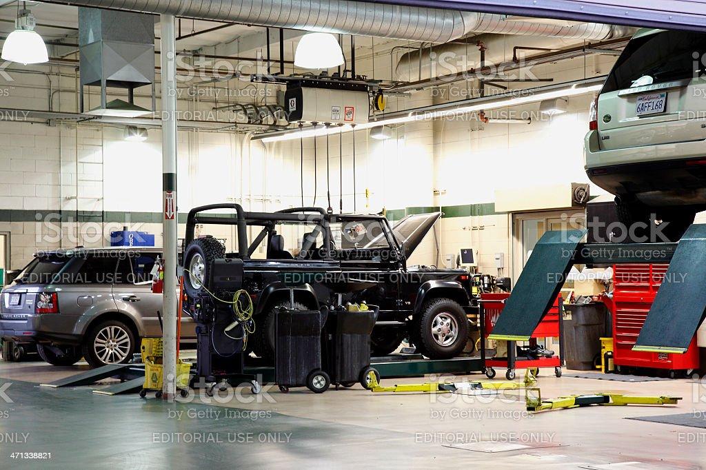 Automotive Garage Servicing SUV'S stock photo