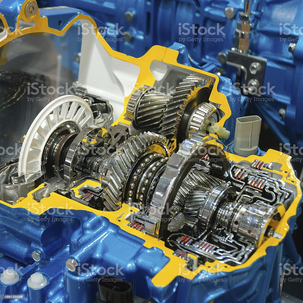 Automotive gearbox internal structure stock photo