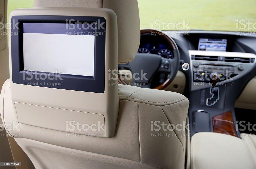 Automotive headrest TV stock photo