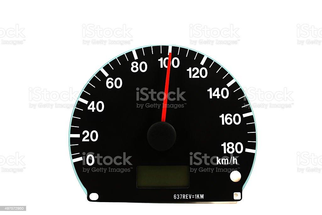 Automotive speedometer on a white background stock photo