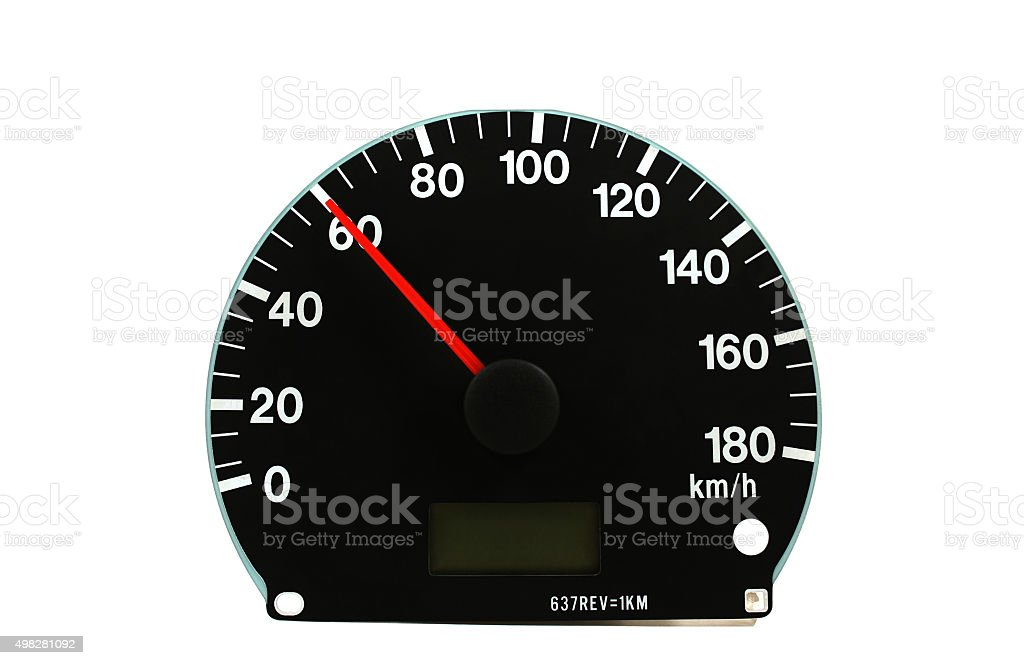 Automotive speedometer on a white background stock photo