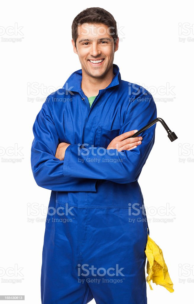 Automotive Technician Standing With Arms Crossed - Isolated stock photo