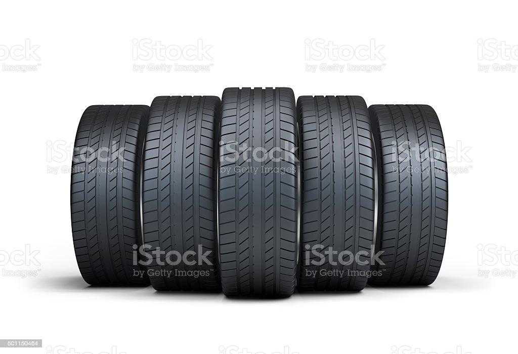 Automotive tires stock photo