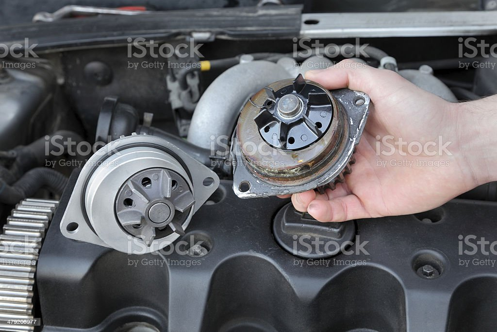 Automotive water pump stock photo