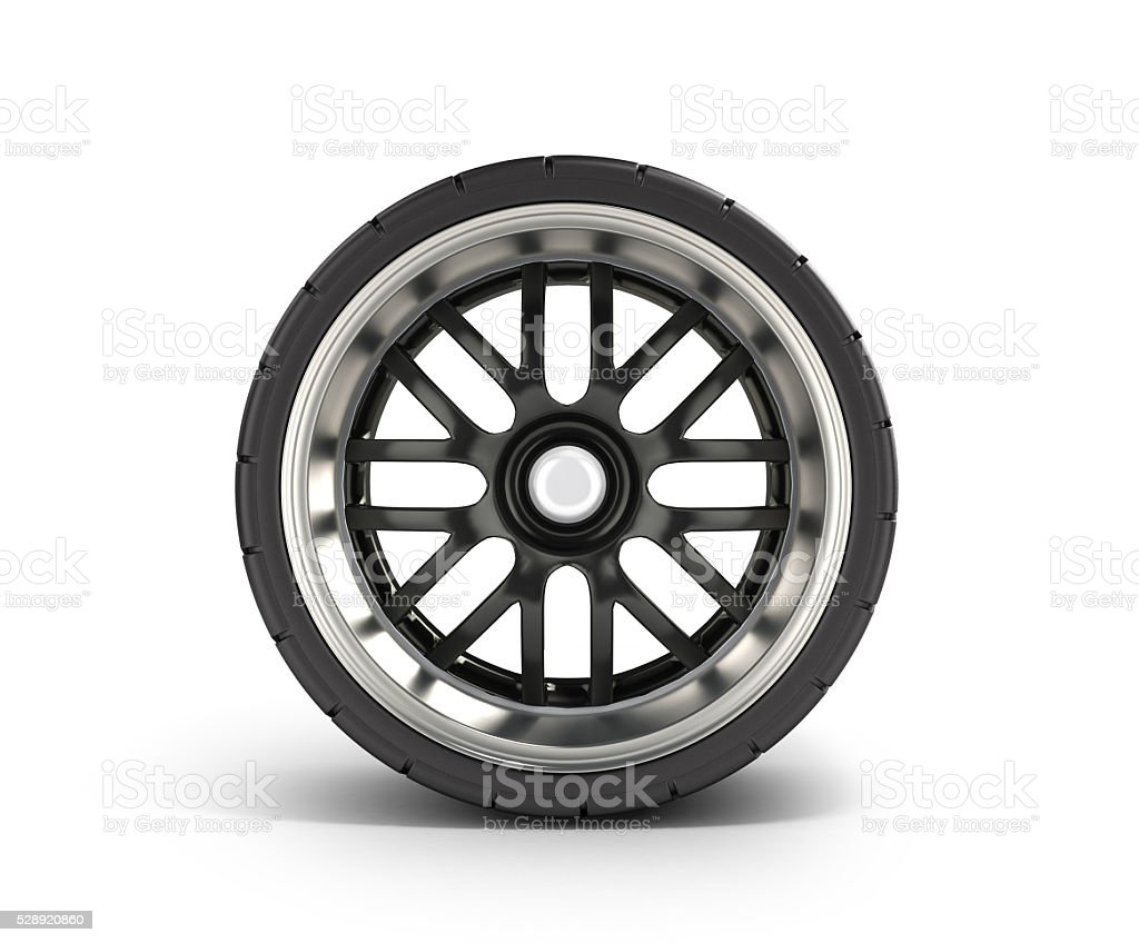 automotive wheel isolated on white 3d render stock photo