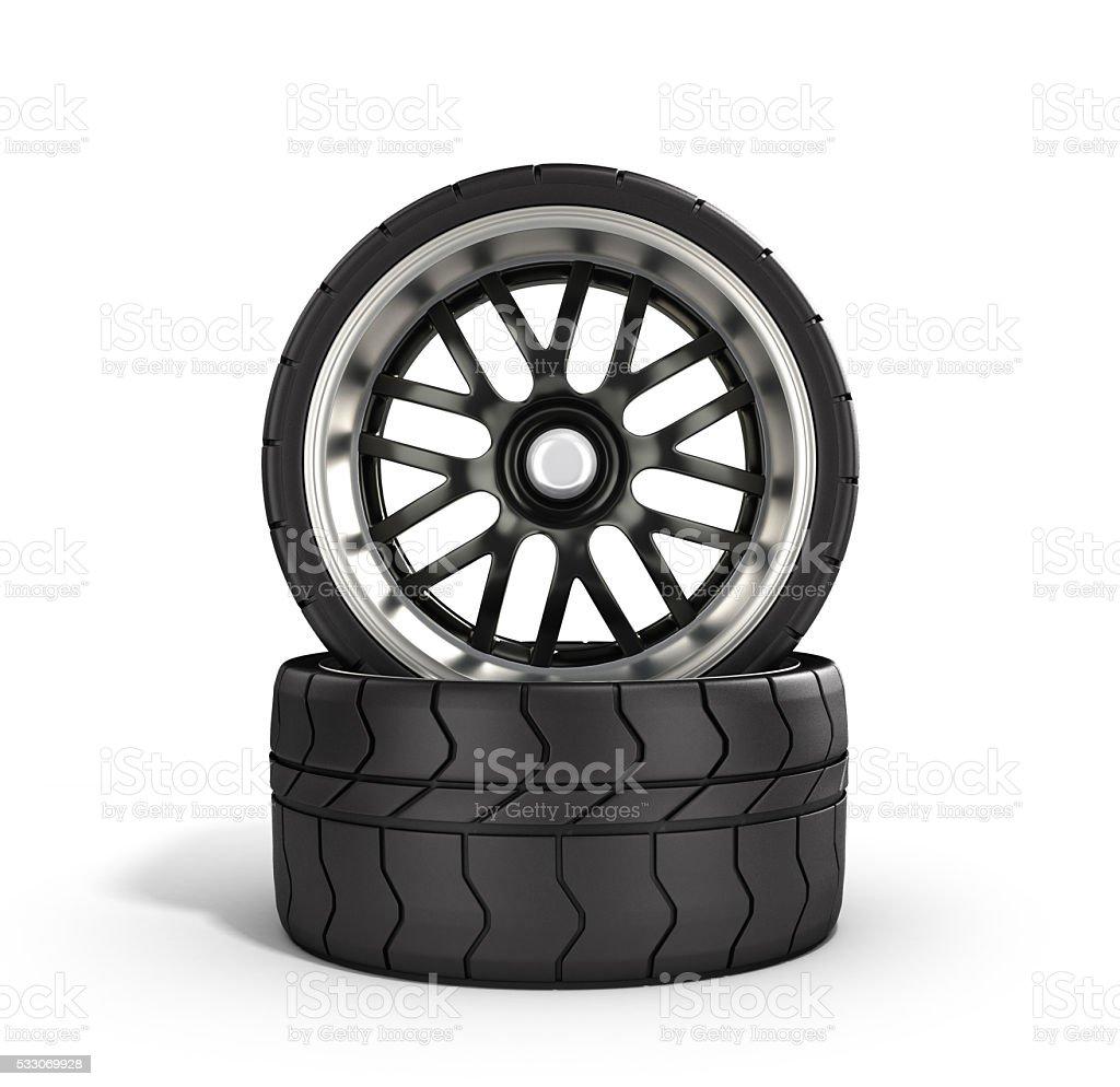 automotive wheels isolated on white 3d illustration stock photo