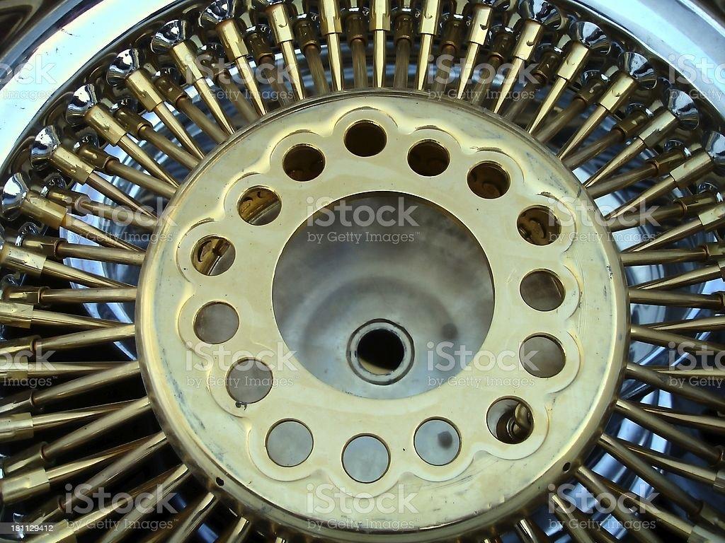 Automotive-Silver & Gold wheel royalty-free stock photo
