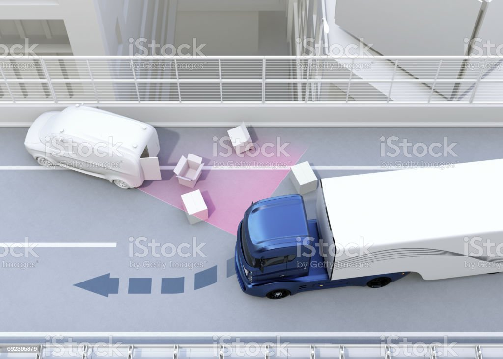 Autonomous car changing lane quickly to avoid a traffic accident stock photo
