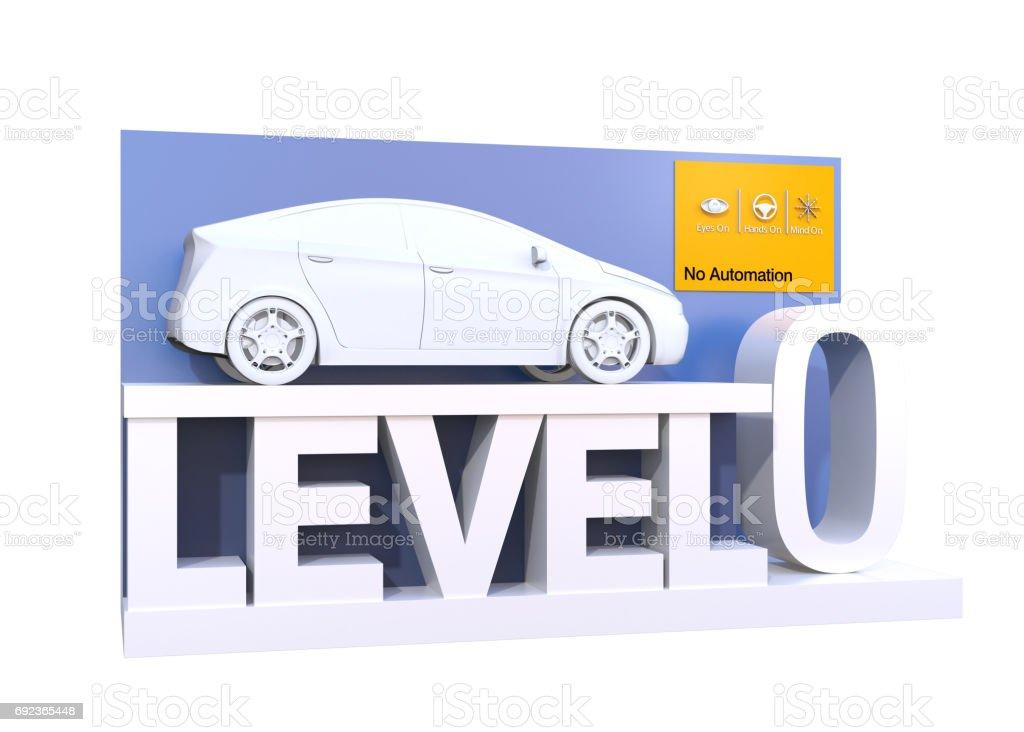 Autonomous car classification of level 0 stock photo