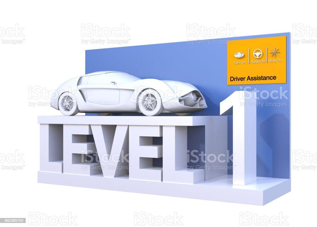 Autonomous car classification of level 1 stock photo