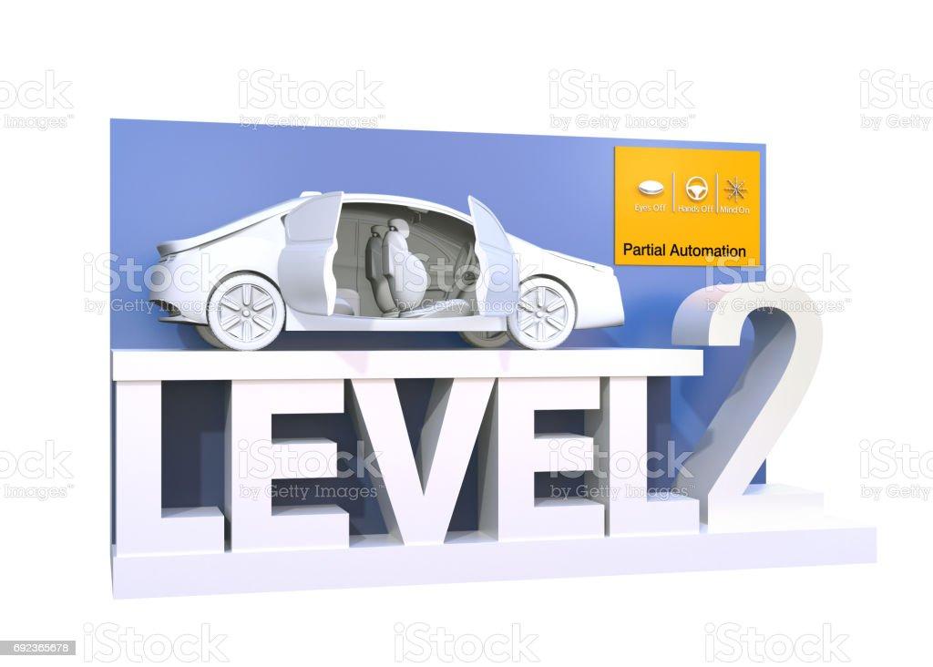 Autonomous car classification of level 2 stock photo