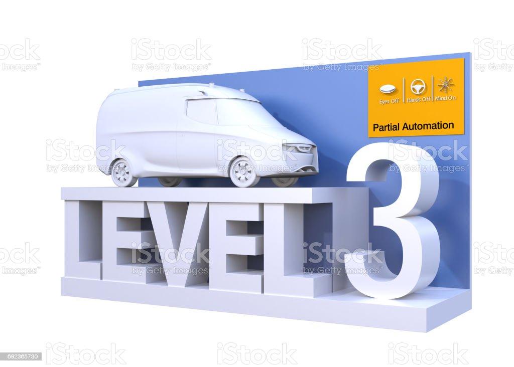 Autonomous car classification of level 3 stock photo