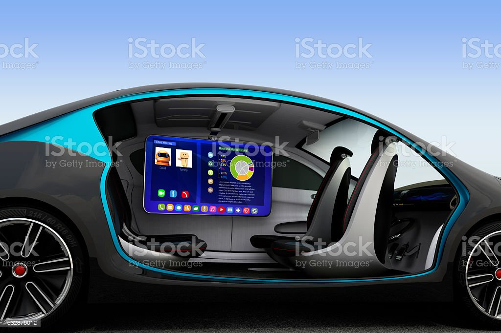 Autonomous car interior concept stock photo