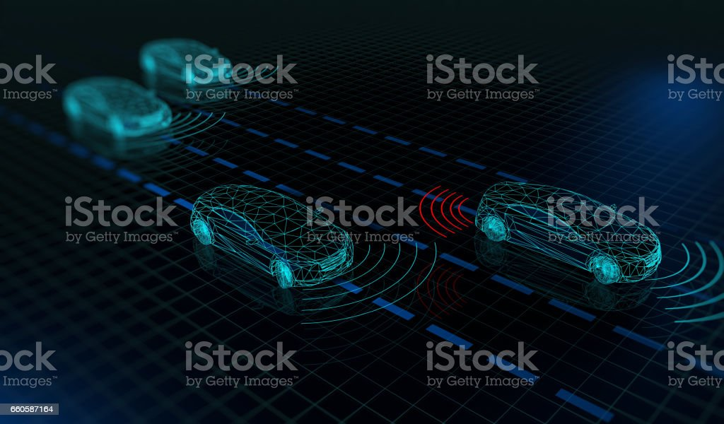 Autonomous driverless cars stock photo