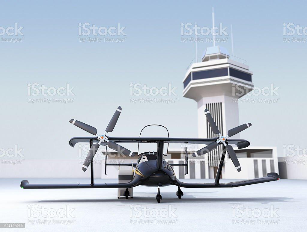 Autonomous flying drone taxi concept stock photo