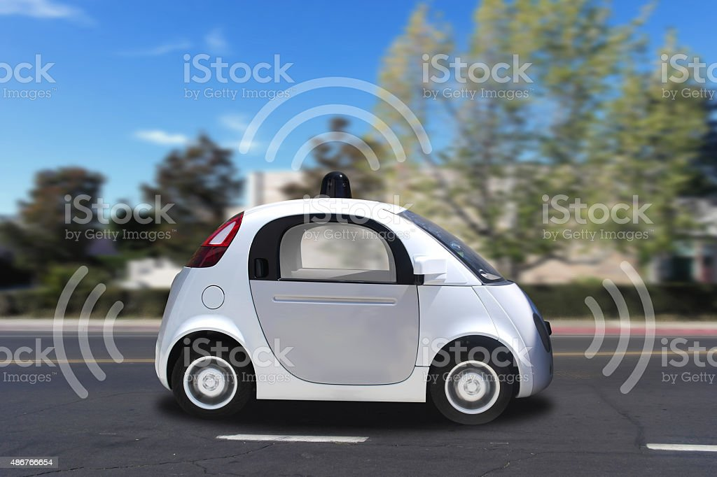 Autonomous self driving driverless vehicle with radar on the road stock photo