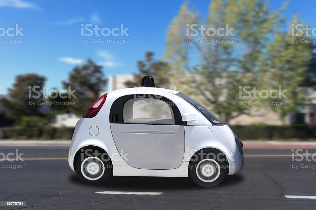 Autonomous self-driving driverless (drive) vehicle driving on the road stock photo