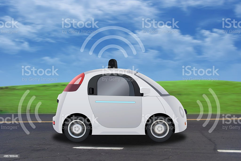 Autonomous self-driving driverless vehicle with radar driving on the road vector art illustration