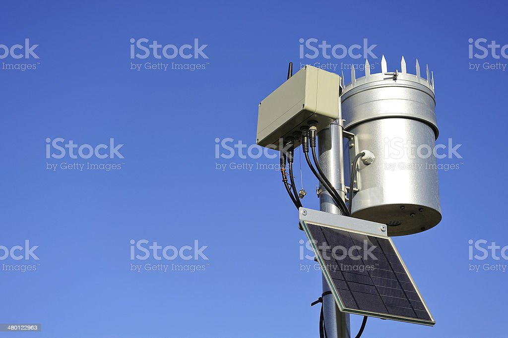 Autonomous Weather Station with wireless transmission stock photo