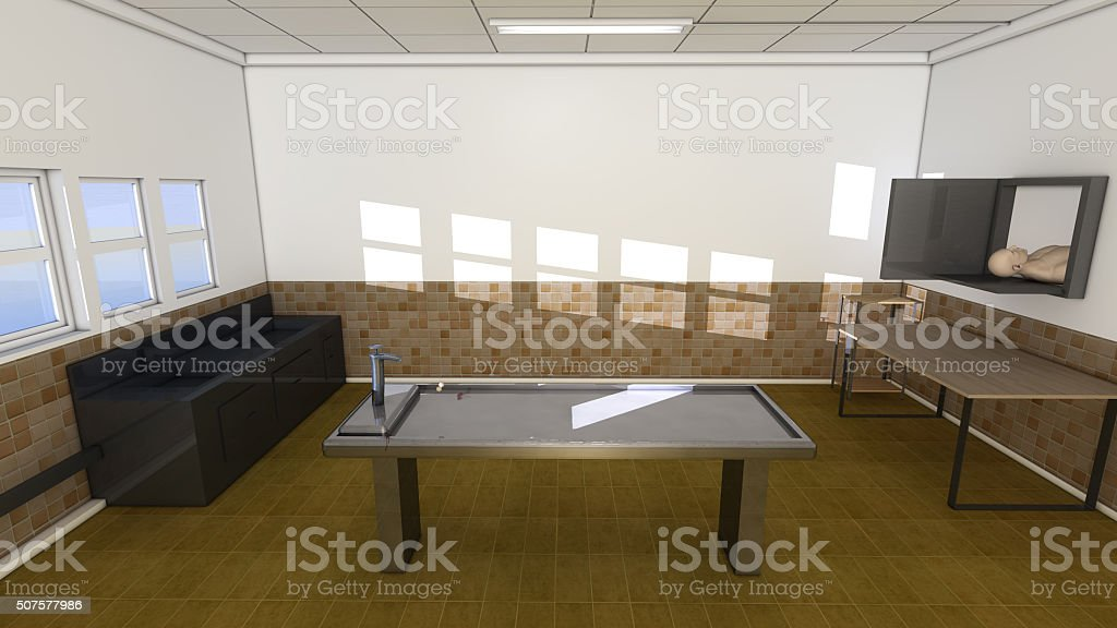 Autopsy room and table stock photo